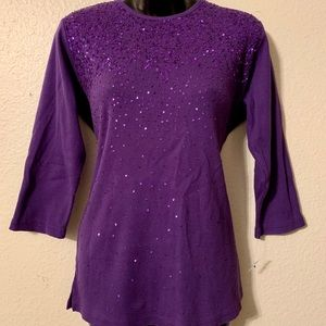 Quaker Factory Purple Sequin Sweater 3/4 Sleeves S